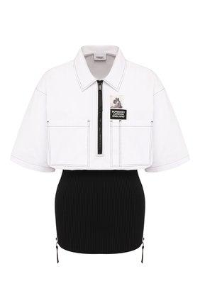 Женская хлопковая рубашка BURBERRY черно-белого цвета, арт. 4564507 | Фото 1