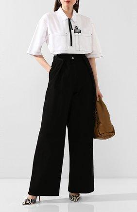 Женская хлопковая рубашка BURBERRY черно-белого цвета, арт. 4564507 | Фото 2