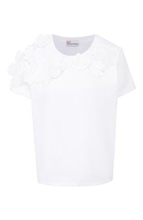 Женская хлопковая футболка REDVALENTINO белого цвета, арт. TR0MG06G/555 | Фото 1