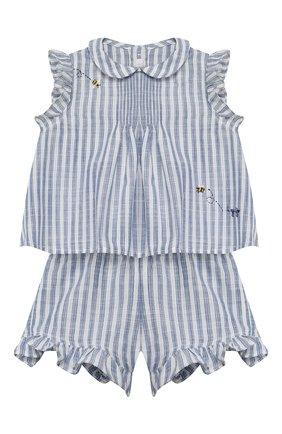 Детский комплект из топа и шорт IL GUFO голубого цвета, арт. P20DP322C1066/24M | Фото 1