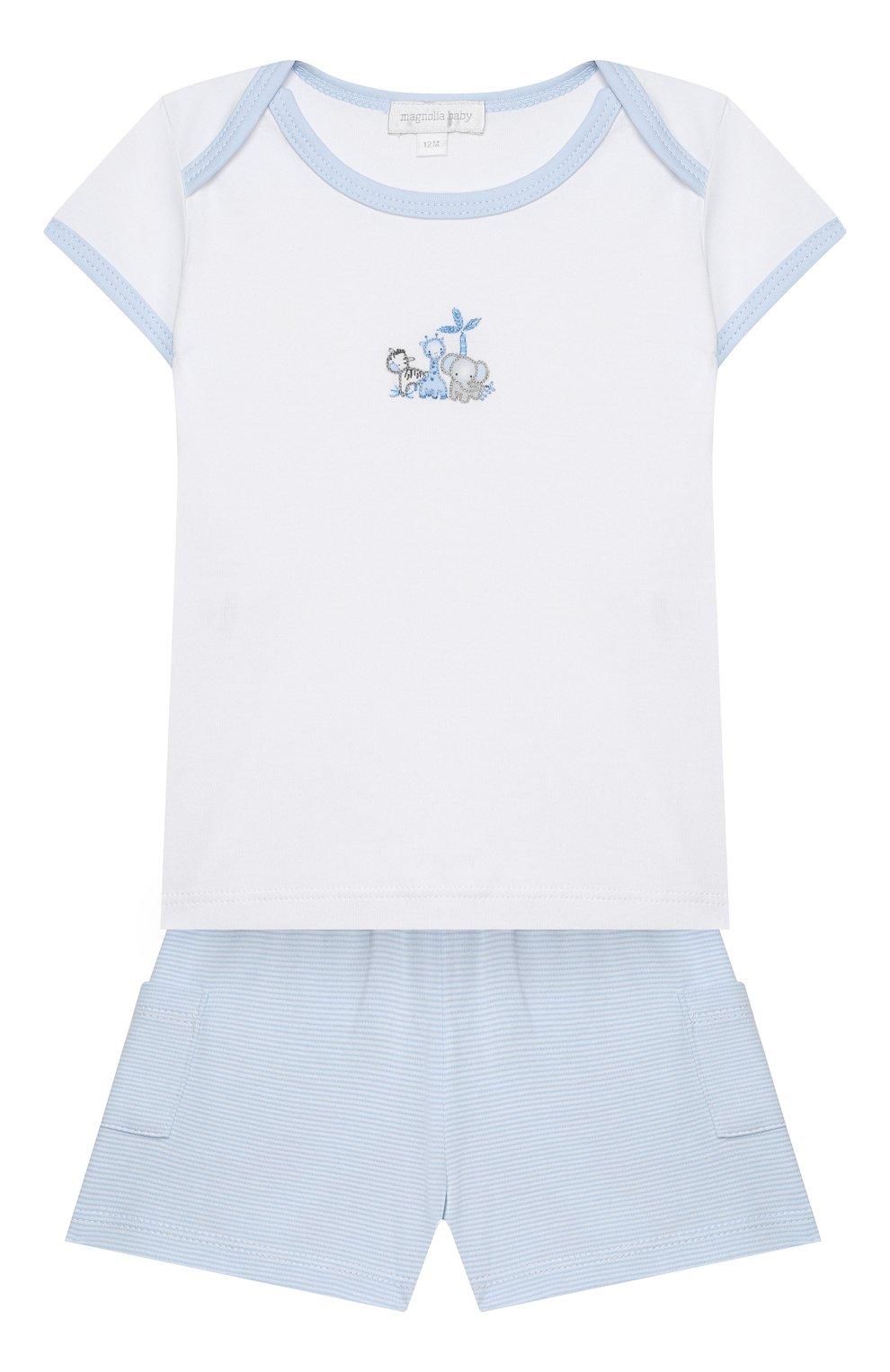 Детский комплект из топа и шорт MAGNOLIA BABY голубого цвета, арт. 649-102-LB | Фото 1 (Рукава: Короткие; Материал внешний: Хлопок)