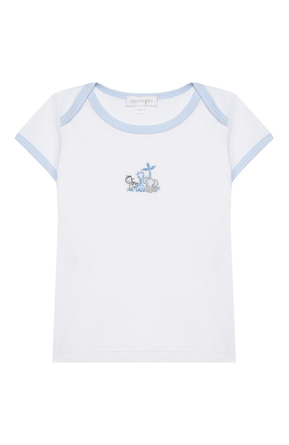 Детский комплект из топа и шорт MAGNOLIA BABY голубого цвета, арт. 649-102-LB | Фото 2 (Рукава: Короткие; Материал внешний: Хлопок)