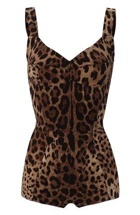 Женское шелковое боди DOLCE & GABBANA коричневого цвета, арт. F7W97T/FSADD | Фото 1