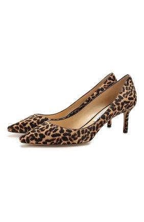 Женская кожаные туфли romy 60 JIMMY CHOO коричневого цвета, арт. R0MY 60/L0P | Фото 1