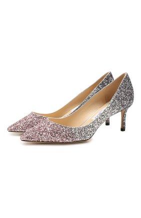 Женская текстильные туфли romy 60 JIMMY CHOO светло-розового цвета, арт. R0MY 60/VNB | Фото 1