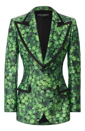 Женский шелковый жакет DOLCE & GABBANA зеленого цвета, арт. F29ELT/IS1AX | Фото 1
