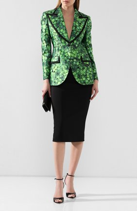 Женский шелковый жакет DOLCE & GABBANA зеленого цвета, арт. F29ELT/IS1AX | Фото 2
