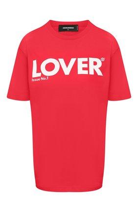 Женская хлопковая футболка DSQUARED2 красного цвета, арт. S72GD0234/S21600 | Фото 1