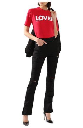 Женская хлопковая футболка DSQUARED2 красного цвета, арт. S72GD0234/S21600 | Фото 2