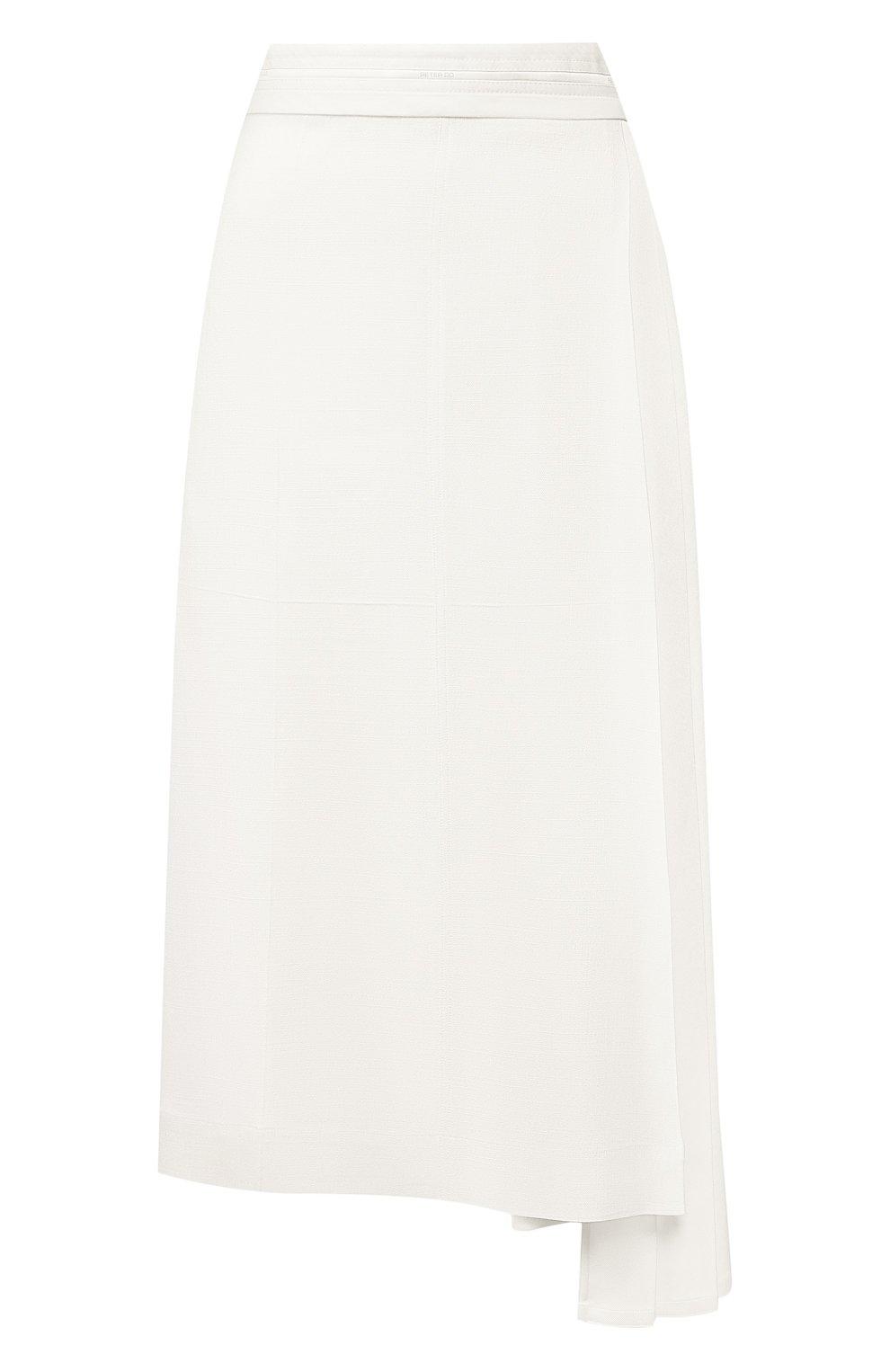 Женская юбка из вискозы PETER DO белого цвета, арт. PD-SS20-213/VI010-EGG/TA009-WHT | Фото 1