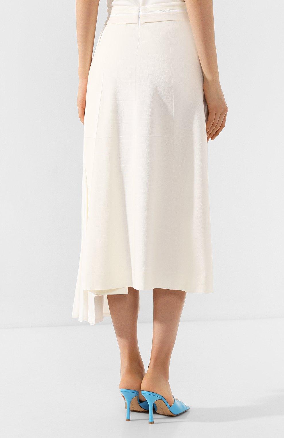 Женская юбка из вискозы PETER DO белого цвета, арт. PD-SS20-213/VI010-EGG/TA009-WHT | Фото 4