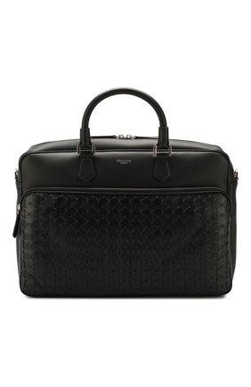 Мужская кожаная сумка для ноутбука SERAPIAN черного цвета, арт. SM0SAMLL6923M40A | Фото 1