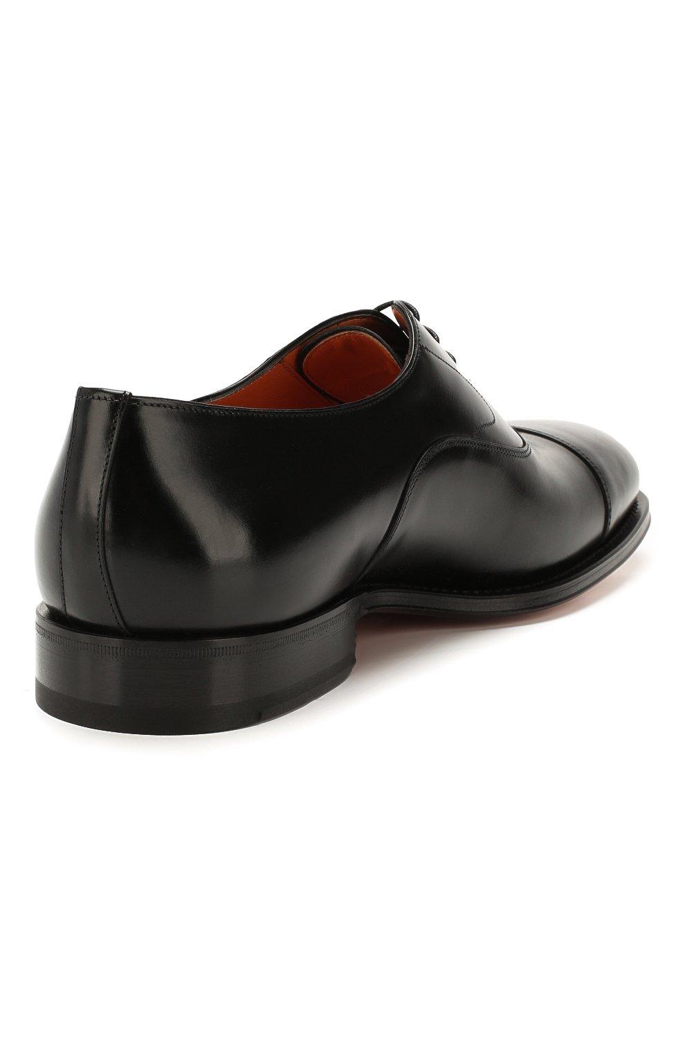 Мужские кожаные оксфорды SANTONI черного цвета, арт. MCPH17016RB2I0BRN01 | Фото 4