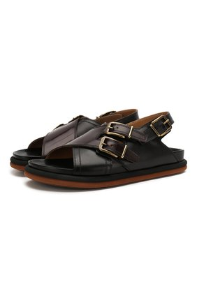 Мужские кожаные сандалии DRIES VAN NOTEN черного цвета, арт. MS27/064/QU120 | Фото 1