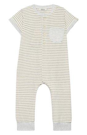 Детский хлопковый комбинезон ALETTA серого цвета, арт. RZ00238/1M-2A | Фото 1