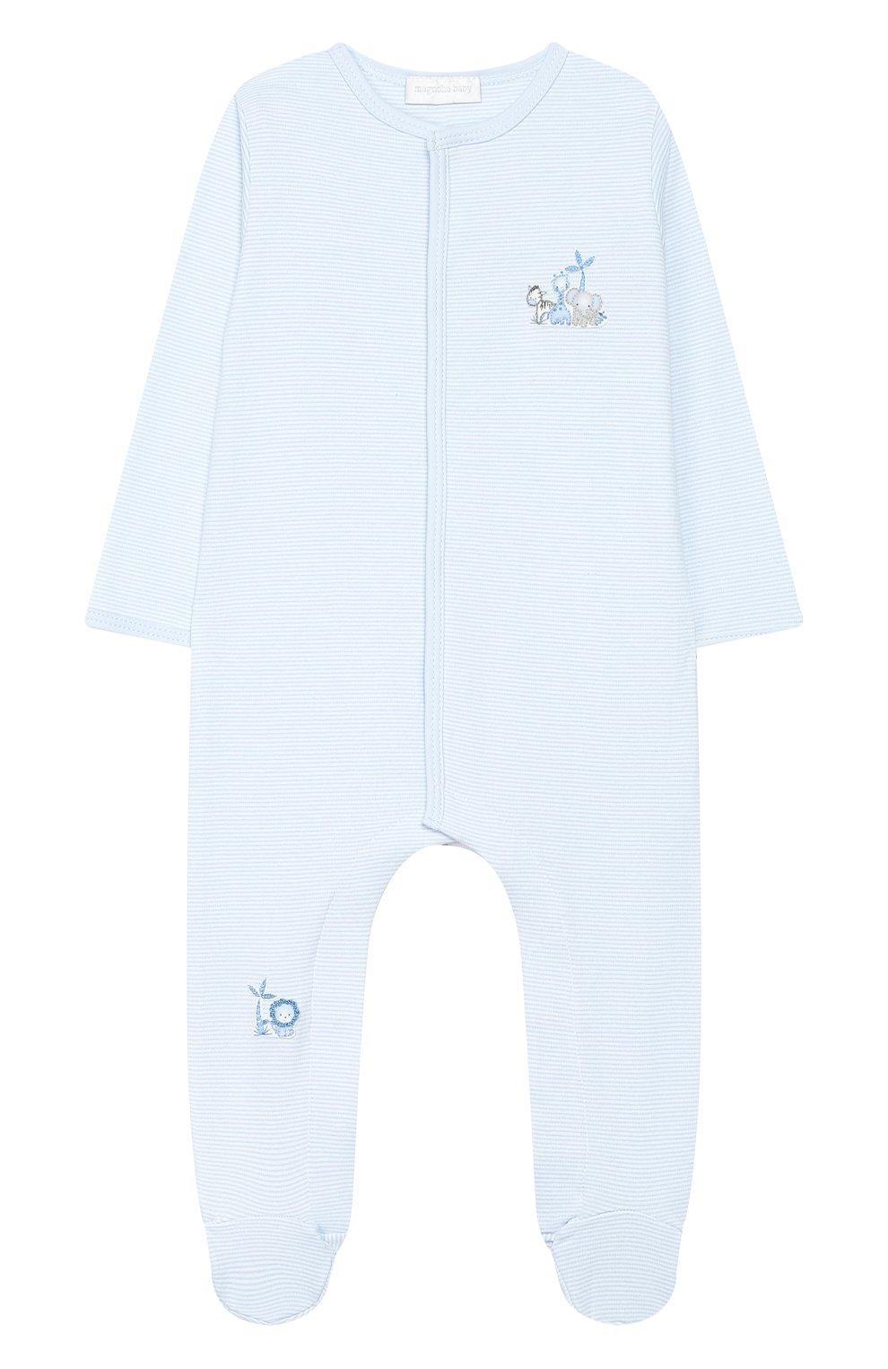 Детский хлопковый комбинезон MAGNOLIA BABY голубого цвета, арт. 649-402-LB | Фото 1 (Рукава: Длинные; Материал внешний: Хлопок)