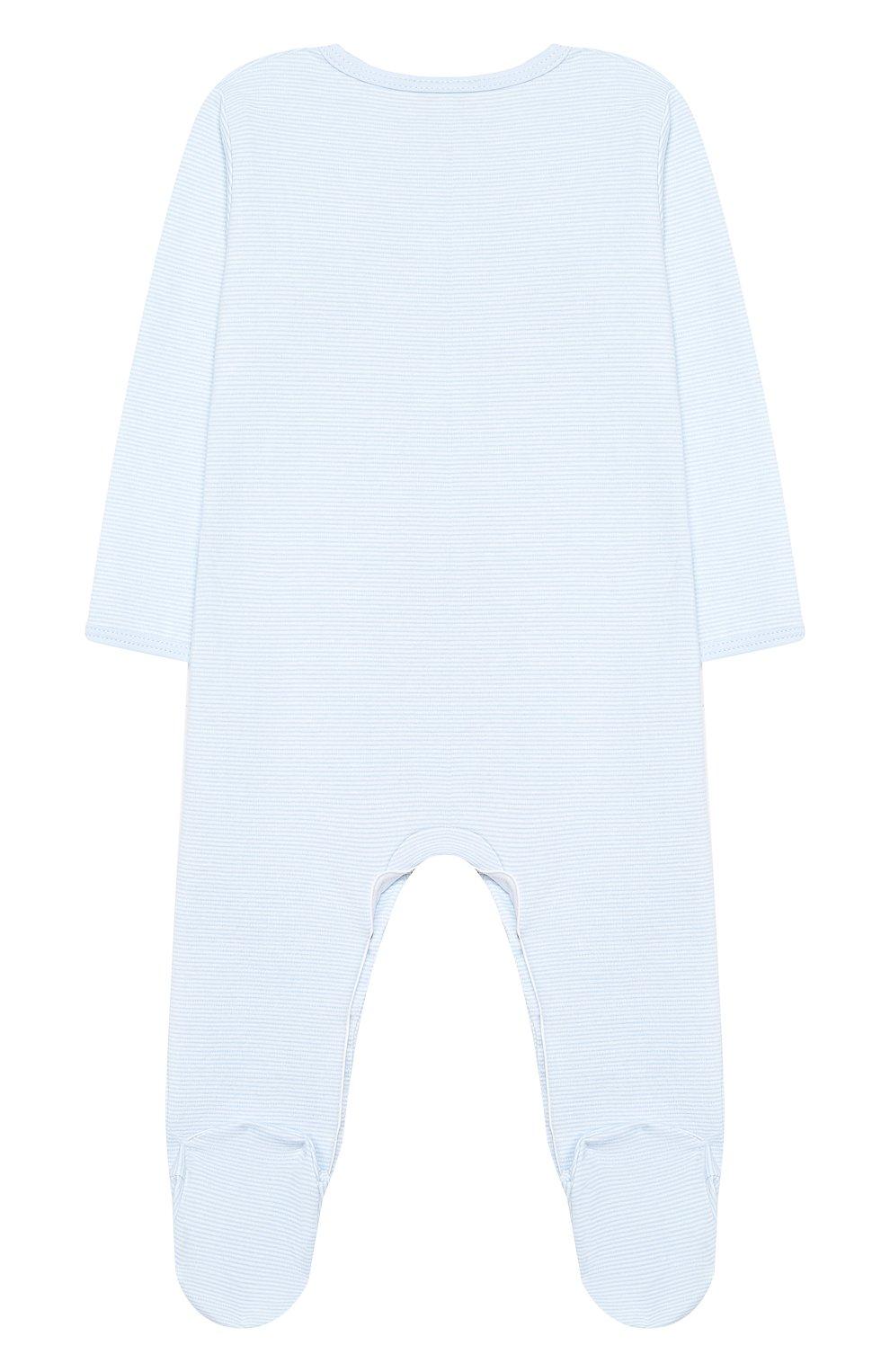 Детский хлопковый комбинезон MAGNOLIA BABY голубого цвета, арт. 649-402-LB | Фото 2 (Рукава: Длинные; Материал внешний: Хлопок)