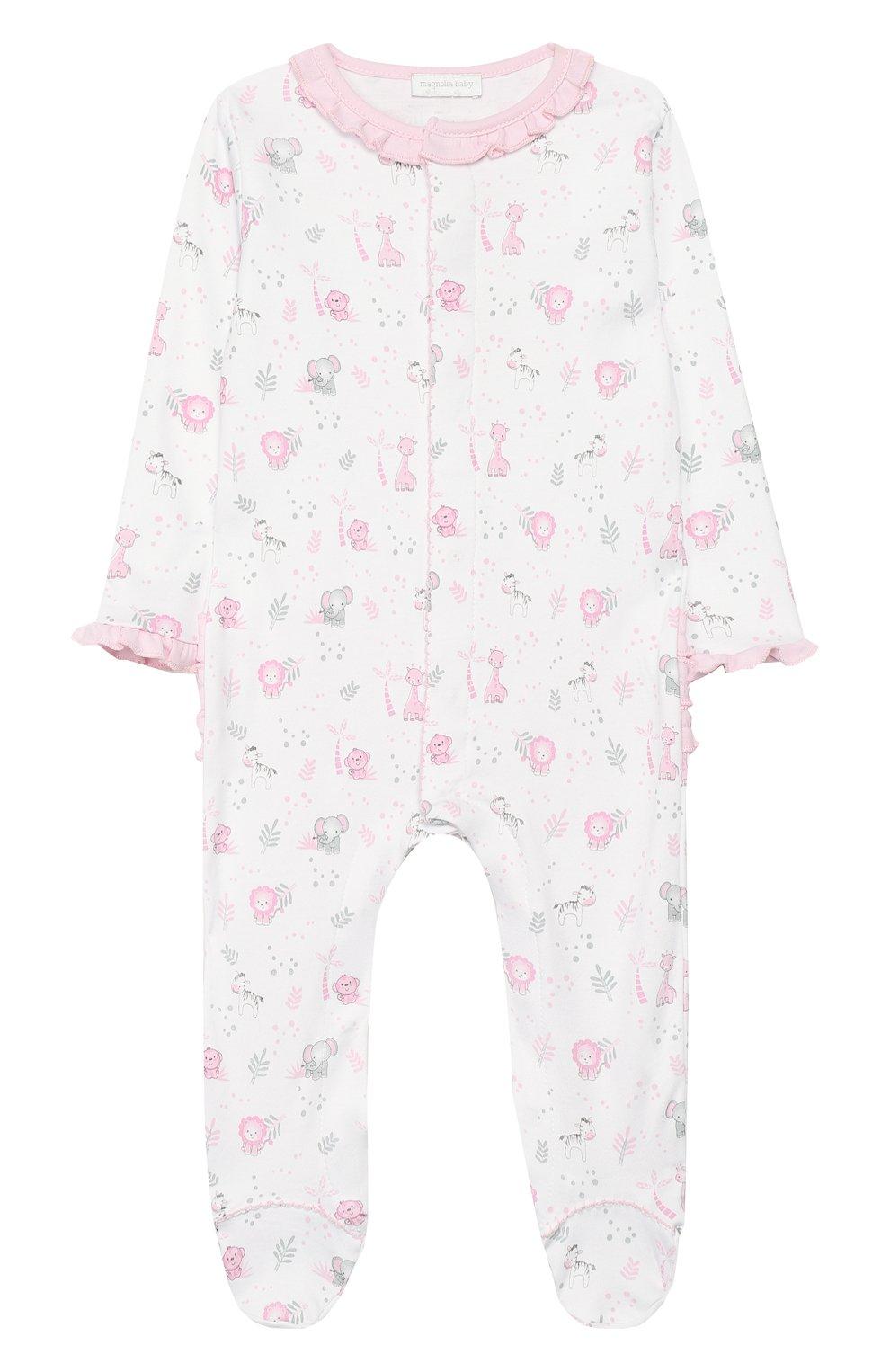 Детский хлопковый комбинезон MAGNOLIA BABY розового цвета, арт. 649-410P-PK | Фото 1 (Рукава: Длинные; Материал внешний: Хлопок)