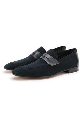 Мужские замшевые пенни-лоферы BERLUTI темно-синего цвета, арт. S4979-001 | Фото 1 (Материал внутренний: Натуральная кожа; Мужское Кросс-КТ: Лоферы-обувь; Стили: Кэжуэл)