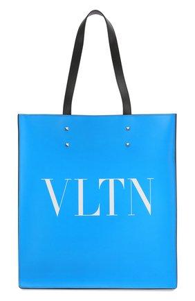 Мужская кожаная сумка тоут valentino garavani vltn VALENTINO синего цвета, арт. TY0B0731/LNG | Фото 1