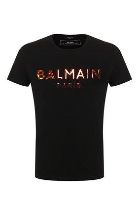 Мужская хлопковая футболка BALMAIN черного цвета, арт. TH01601/I309 | Фото 1
