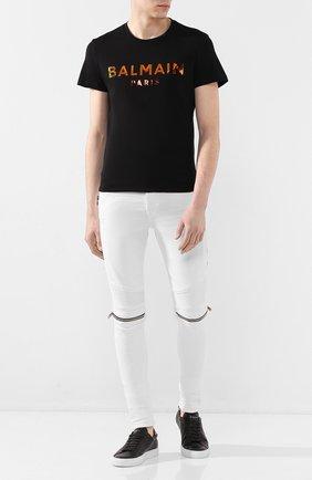 Мужская хлопковая футболка BALMAIN черного цвета, арт. TH01601/I309 | Фото 2
