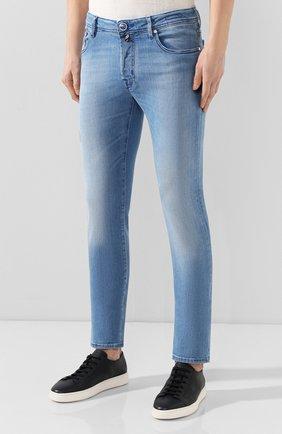 Мужские джинсы JACOB COHEN голубого цвета, арт. J688 C0MF 01855-W3/53 | Фото 3