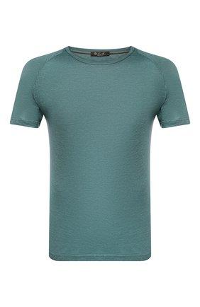 Мужская льняная футболка LORO PIANA зеленого цвета, арт. FAI4692 | Фото 1 (Принт: Без принта; Материал внешний: Лен; Длина (для топов): Стандартные; Стили: Кэжуэл; Мужское Кросс-КТ: Футболка-одежда; Рукава: Короткие)