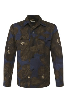 Мужская хлопковая рубашка DRIES VAN NOTEN хаки цвета, арт. 201-20715-9003 | Фото 1