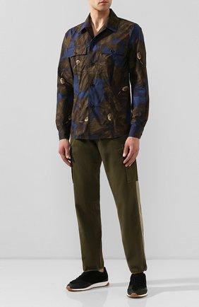 Мужская хлопковая рубашка DRIES VAN NOTEN хаки цвета, арт. 201-20715-9003 | Фото 2