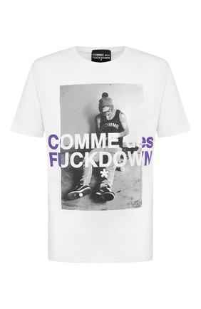 Мужская хлопковая футболка COMME DES FUCKDOWN белого цвета, арт. CDFU736 | Фото 1
