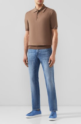 Мужское хлопковое поло CRUCIANI бежевого цвета, арт. CU558.P30   Фото 2