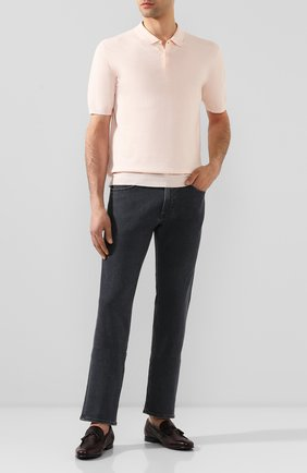 Мужское поло из смеси льна и хлопка ALTEA светло-розового цвета, арт. 2051037   Фото 2