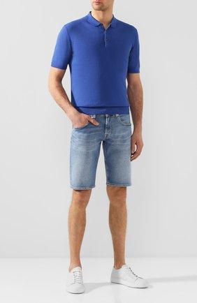 Мужское поло из смеси льна и хлопка ALTEA синего цвета, арт. 2051037   Фото 2