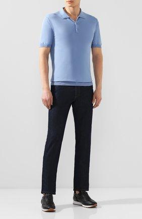 Мужское поло из смеси шелка и хлопка ALTEA голубого цвета, арт. 2051001   Фото 2