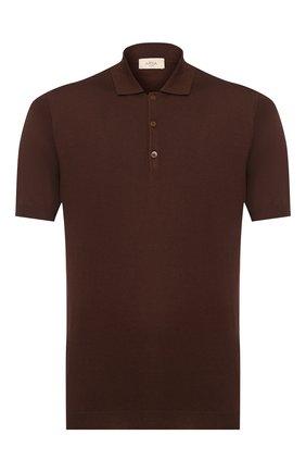Мужское поло из смеси шелка и хлопка ALTEA коричневого цвета, арт. 2051001   Фото 1