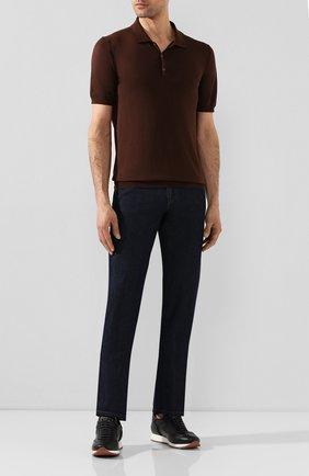 Мужское поло из смеси шелка и хлопка ALTEA коричневого цвета, арт. 2051001   Фото 2