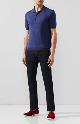 Мужское поло из смеси шелка и хлопка ALTEA синего цвета, арт. 2051001   Фото 2