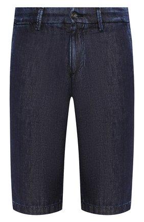 Мужские шорты из смеси хлопка и льна 7 FOR ALL MANKIND темно-синего цвета, арт. JSWUB030CD   Фото 1