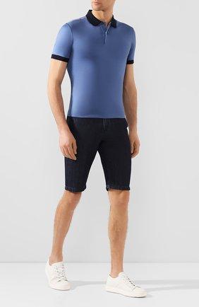 Мужские шорты из смеси хлопка и льна 7 FOR ALL MANKIND темно-синего цвета, арт. JSWUB030CD   Фото 2