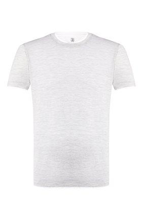 Мужская футболка из шелка и хлопка BRUNELLO CUCINELLI светло-серого цвета, арт. MTS467427   Фото 1
