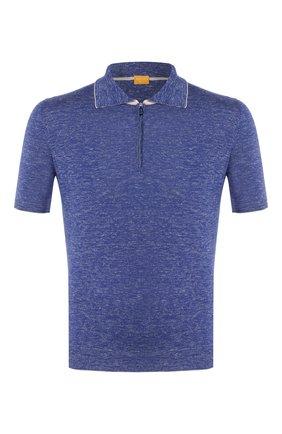 Мужское поло из смеси шелка и льна SVEVO синего цвета, арт. 6405/SE20/MP64   Фото 1