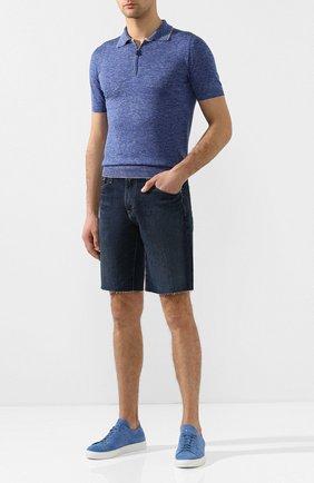 Мужское поло из смеси шелка и льна SVEVO синего цвета, арт. 6405/SE20/MP64   Фото 2