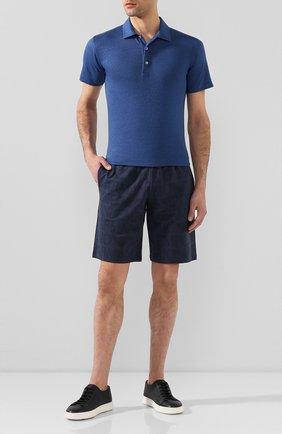 Мужское льняное поло FEDELI синего цвета, арт. 3UED0150 | Фото 2