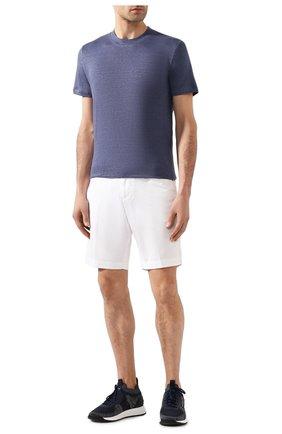 Мужская льняная футболка FEDELI синего цвета, арт. 3UED0151 | Фото 2