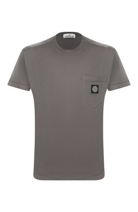 Мужская хлопковая футболка STONE ISLAND темно-серого цвета, арт. 721520113 | Фото 1