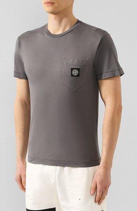 Мужская хлопковая футболка STONE ISLAND темно-серого цвета, арт. 721520113 | Фото 3