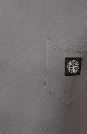 Мужская хлопковая футболка STONE ISLAND темно-серого цвета, арт. 721520113 | Фото 5