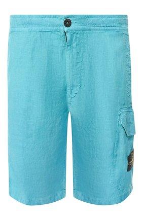 Мужские льняные шорты STONE ISLAND голубого цвета, арт. 7215L0301 | Фото 1