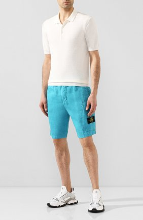 Мужские льняные шорты STONE ISLAND голубого цвета, арт. 7215L0301 | Фото 2
